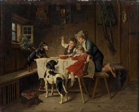 Artwork by Adolf Eberle, Dinner time, Made of oil on panel