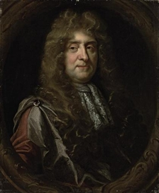 Artwork by John Riley, Portrait of Sir John Buckworth, (c.1602-1687), bust-length, in a mantle and a lace collar, in a sculpted cartouche, Made of oil on canvas