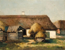 Artwork by László Paál, FARMYARD WITH HAYSTACKS