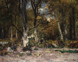 Artwork by László Paál, BIRCH FOREST WITH FAGGOT GATHERER