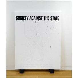 Artwork by Gardar Eide Einarsson, SOCIETY AGAINST THE STATE, Made of acrylic and graphite on canvas with painted wood blocks