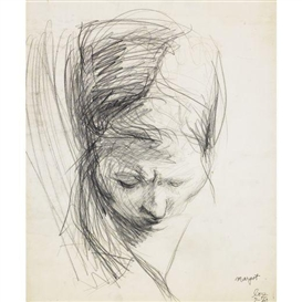 Artwork by Lee Lozano, untitled (head), Made of graphite on paper with perforated edges