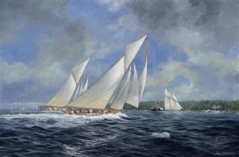 Cicely, Paula and White Heather heading to windward off Cowes By John J. Holmes