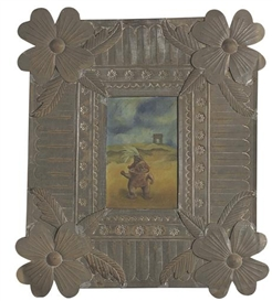 Artwork by Frida Kahlo, Survivor, Made of oil on metal framed by artist in a handcrafted Oaxacan tin frame