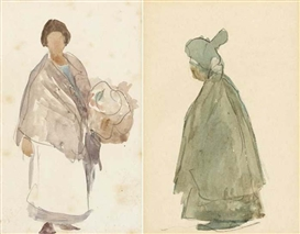 Michael Healy, SKETCH OF A DUBLIN WOMAN and DUBLIN FLOWER GIRL (A PAIR)