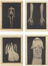 Artwork by Lesley Dill, Four works: A Word Made of Flesh, Made of The complete set of four lithograph and etchings with stitching, on Japanese paper to Arches buff paper