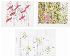 Artwork by Ghada Amer, Reza Farkhondeh, Kiss Cross; Wonder Women; and Love Me, Made of Three lithographs in colors with stitching in black and one with applied stickers, on Rives and wove papers