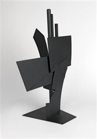Artwork by Louise Nevelson, Maquette for Monumental Sculpture III, Made of Welded black steel sculpture