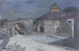 Artwork by Arthur E. Becher, Rothenburg; Dinkelsbuhl-Rothenburger Gate; Dachau; Rothenburg; Harburg; Donauworth (Village); Donauworth (Street); Rothenburg (Night); Harburg (Castle); Nordlingen, Made of Each on cream wove paper