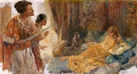 Artwork by Arthur E. Becher, In the Harem, Made of oil on canvas, laid down on board