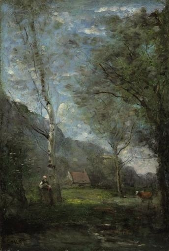 Artwork by Jean Baptiste Camille Corot, Souvenir de Bretagne, Made of oil on panel