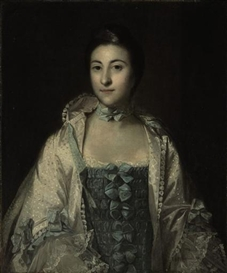 Artwork by Sir Joshua Reynolds, Portrait of a lady, traditionally identified as Hannah Lightfoot, half-length, in a blue dress, Made of oil on canvas