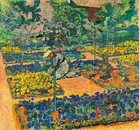 Artwork by Cuno Amiet, Der Penséesgarten - Garten auf der Oschwand, Made of Oil on canvas