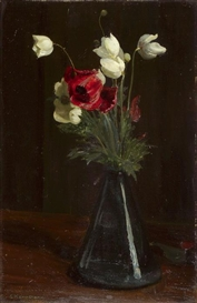 "Artwork by Gustav Kampmann, ""Frühlingsblumen"", Made of Oil on Cardboard"