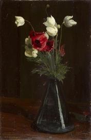 "Artwork by Gustav Kampmann, ""Frühlingsblumen"", Made of Oil on Cardboard"
