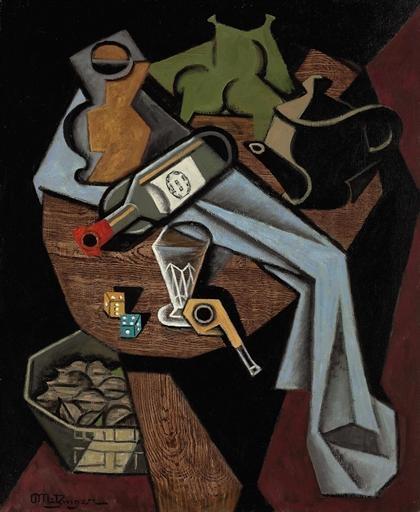 Artwork by Jean Metzinger, Bouteille renversée, dés et panier de noix, Made of oil on canvas