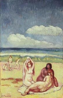 Baigneuses sur la plage By Emile Bernard ,Circa  1896