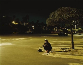 Artwork by Nadav Kander, Benicio del Toro, Curb, Los Angeles, 2000, Made of Color coupler print.