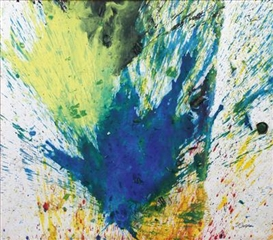 Artwork by Shozo Shimamoto, Capri 21, Made of oil, fragmented green glass on canvas