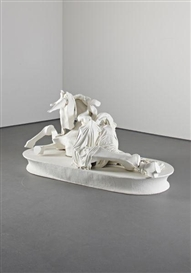 Artwork by Rachel Feinstein, Unicorn, Made of Fabric, resin, plaster, foam and acrylic on wood