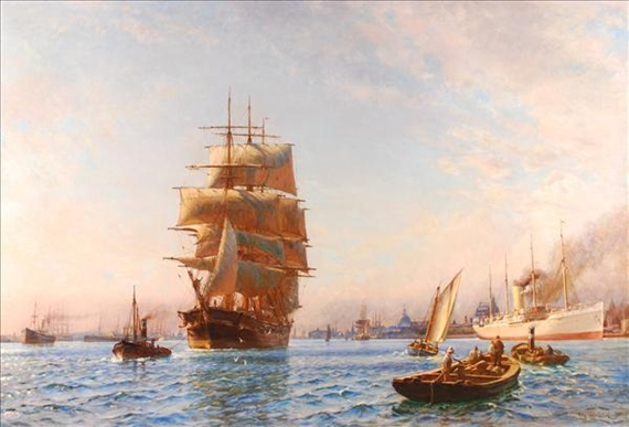 Mølsted Christian   A busy harbour scene with clipper and