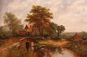 Country River Landscape with Cottage By Octavius T. Clark