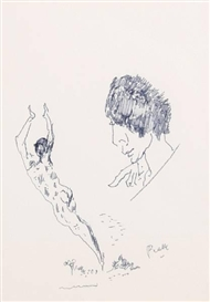 Artwork by Mervyn Peake, Male study sketches, Made of pen and ink