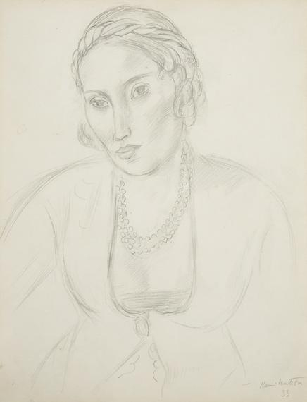 Artwork by Henri Matisse, Portrait de Femme a la Robe Persanne, Nice, Made of Pencil on paper