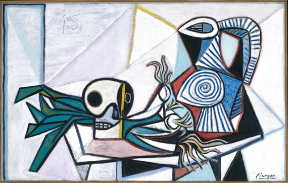 photo essay picasso as a mutualart still life skull leeks and pitcher 14 1945 oil on canvas 73 x 116 cm fine arts museums of san francisco museum purchase whitney warren jr