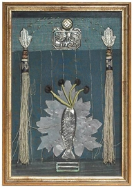 Artwork by Betye Saar, The Twilight of Pisces, Made of mixed media assemblage