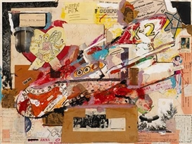 Artwork by Jeffrey Vallance, Rocket, Made of acrylic, mixed media and collage on paper