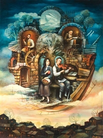 Artwork by Boris Shapiro, The Jewish home, Made of oil on canvas