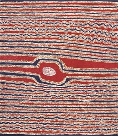 Artwork by Eileen Napaltjarri, Tjiturrulpa, Made of synthetic polymer paint on linen