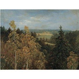Artwork by Carl Gustav Carus, BLICK ÜBER EINE WALDLANDSCHAFT (WOODED LANDSCAPE), Made of oil on board