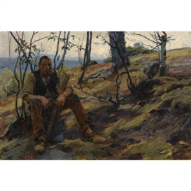 Artwork by José Malhoa, O LENHADOR (THE WOODCUTTER), Made of oil on canvas