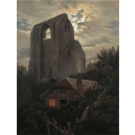 Artwork by Carl Gustav Carus, RUINE ELDENA MIT HÜTTE BEI GREIFSWALD IM MONDSCHEIN (RUINS OF THE ELDENA MONASTERY, GREIFSWALD), Made of oil on canvas