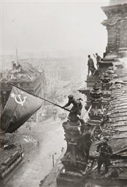 Artwork by Yevgeny Khaldei, Raising the Flag on the Roof of the Reichstag (2), Made of gelatin silver prints