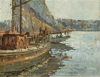Dock Scene By Frederick J. Mulhaupt