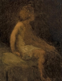 Artwork by William Morris Hunt, Young Girl, Made of oil on canvas