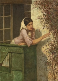 Artwork by William Morris Hunt, Young Woman on a Balcony, Made of oil on canvas