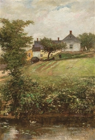 Artwork by William Morris Hunt, View of the Ames Family Home, Made of oil on board