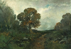 Artwork by László Paál, Wooded landscape, Made of Oil on canvas