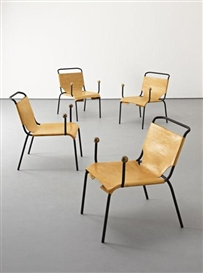 Artwork by Lina Bo Bardi, Rare set of four 'Bola' chairs, Made of Painted tubular metal, hand-stitched leather, brass, string