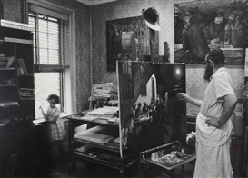 Artwork by Neil Folberg, Zalman Kleinman Painting in His Studio, Brooklyn, 1975, Made of Gelatin silver print