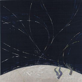 Artwork by Angelo Filomeno, In the Upper Sky, Made of Embroidery on silk shantung on canvas
