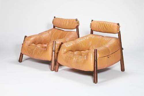 Artwork By Percival Lafer, Pair Of Brazilian Lounge Chairs, Made Of  Hardwood Frames With