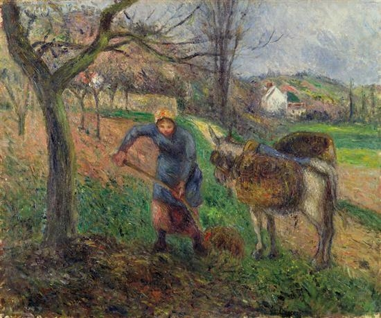Artwork by Camille Pissarro, Paysanne avec un ane, Pontoise, Made of oil on canvas