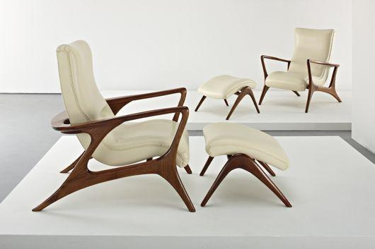 Artwork By Vladimir Kagan Pair Of Contour Lounge Chairs And Ottomans Made