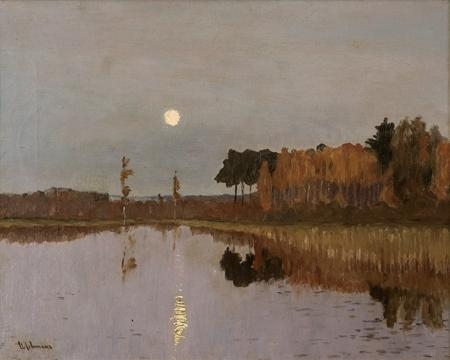 Artwork by Isaak Levitan, Twilight over a forest lake, Made of oil on canvas
