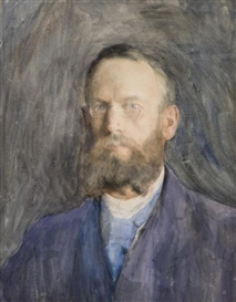 Artwork by Erik Werenskiold, Self-Portrait, Made of Watercolour on heavy paper